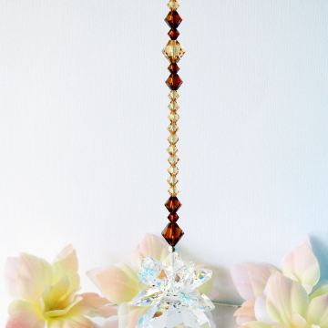 Swarovski Crystal Suncatcher, Brown Feng Shui, Crystal Ball Suncatcher