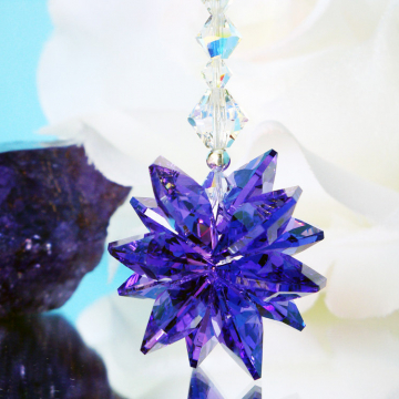 Rear View Mirror Charm Blue Violet Swarovski Crystal Suncatcher