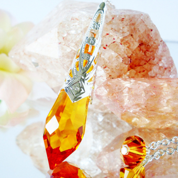 Crystal Pendulum Topaz Swarovski Crystal Metaphysical Magic Wand