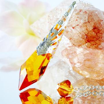 Crystal Pendulum, Topaz Swarovski Crystal Dowsing Pendulum, Divining Pendulum