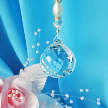 Swarovski Crystal Ball Ceiling Fan Pull Chain Feng Shui Decor Prism Suncatcher Light Pulls Hanging Crystal