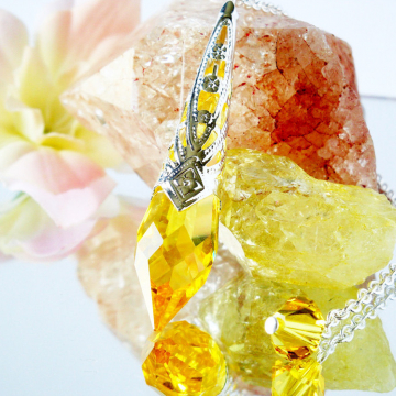 Swarovski Crystal Pendulum Light Topaz Divining Pendulum Magic Wand