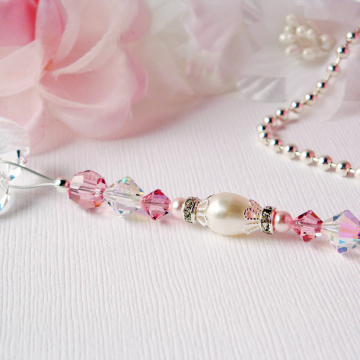 Pink Ceiling Fan Pull Chain, Swarovski Crystal Light Pulls, Little Girls Room, Nursery Decor, Hanging Crystal
