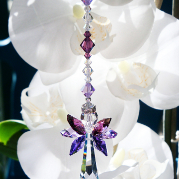 Rear View Mirror Charm, Purple Guardian Angel Car Charm, Swarovski Crystal Suncatcher