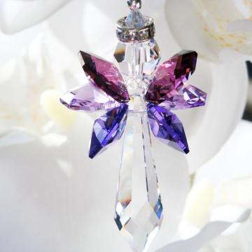 Rear View Mirror Charm Purple Guardian Angel Car Charm Swarovski Crystal Suncatcher
