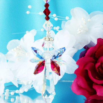 Guardian Angel Sun Catcher Swarovski Crystal Red White Blue