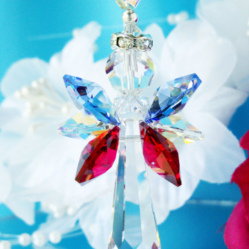 Guardian Angel Suncatcher, Swarovski Crystal, Red White Blue