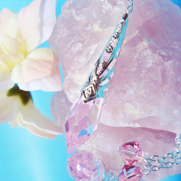 Pink Crystal Pendulum, Swarovski Single Point Crystal, Metaphysical Magic Wand