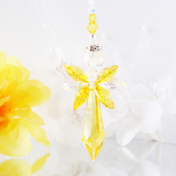 Guardian Angel Car Charm, Swarovski Crystal Prism Suncatcher for Car, Yellow Car Mirror Accessories, Hanging Crystals