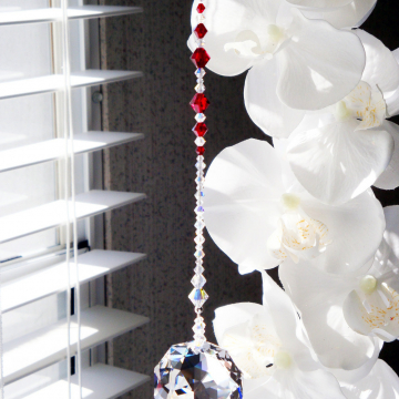 Crystal Sun Catcher, Swarovski Crystal Red Feng Shui Decor, Hanging Crystals Suncatchers