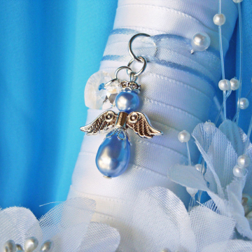 Something Blue Wedding Bouquet Charm, Angel Bouquet Charm Swarovski