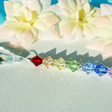Swarovski Crystal Light Pull, Chakra Rainbow Ceiling Fan Pull Chain, Hanging Crystal