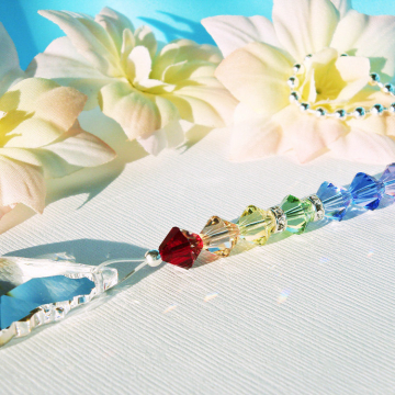 Swarovski Crystal Light Pull, Chakra Rainbow Ceiling Fan Pull Chain, Hanging Crystal