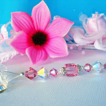 Ceiling Fan Pull, Pink Light Pulls, Little Girls Room, Baby Girl Nursery Decor, Swarovski Crystal