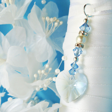 Something Blue Bouquet Charm, Swarovski Crystal Wedding Bouquet Charm