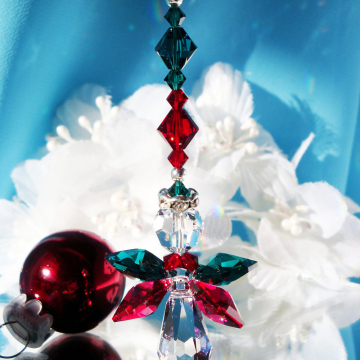 Angel Christmas Ornament, Swarovski Crystal Angel Rear View Mirror Charm, Christmas Gift