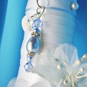 Something Blue Wedding Bouquet Charm, Swarovski Crystal and Pearl Bridal Bouquet Charm, Something Blue for Bride
