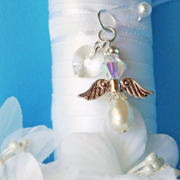 Wedding Bouquet Charm, White Swarovski Crystal Angel Bridal Bouquet Charm, Bridal Shower Gift, Bouquet Accessories