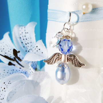 Something Blue Wedding Bouquet Charm, Swarovski Crystal Angel Bridal Bouquet Charms, Bridal Shower Gift