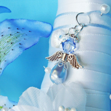 Something Blue Bouquet Charm, Swarovski Crystal Wedding Bouquet Charm, Something Blue for Bride