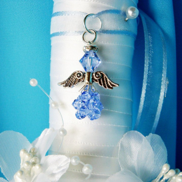 Something Blue Wedding Bouquet Charm, Swarovski Crystal Angel Bridal Bouquet Charm, Something Blue Gift