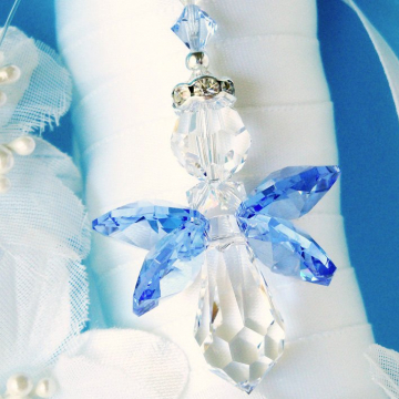 Something Blue Bouquet Charm, Swarovski Crystal Angel Wedding Bouquet Charm, Something Blue for Bride