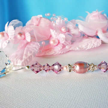 Ceiling Fan Pull, Pink and Purple Little Girls Room, Baby Girl Nursery Decor, Swarovski Crystal Light Pull