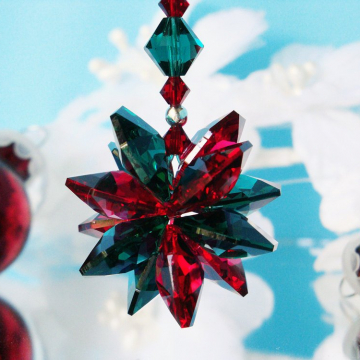 Swarovski Crystal Christmas Ornament, Red and Green, Christmas Gift