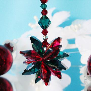 Swarovski Crystal Christmas Ornament, Red and Green, Christmas Gift