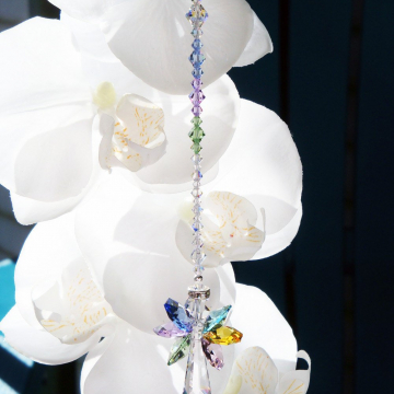 Swarovski Crystal Rainbow Angel Suncatcher, Hanging Crystals, Prism Suncatcher, Window Sun Catcher