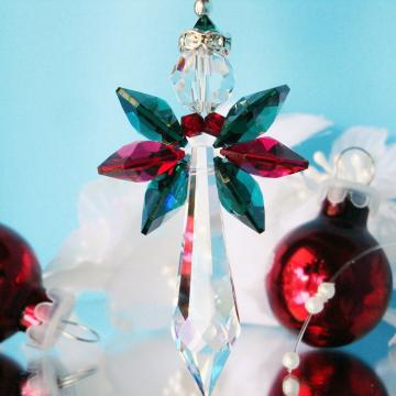 Angel Christmas Ornament, Swarovski Crystal Rear View Mirror Charm, Christmas Gift