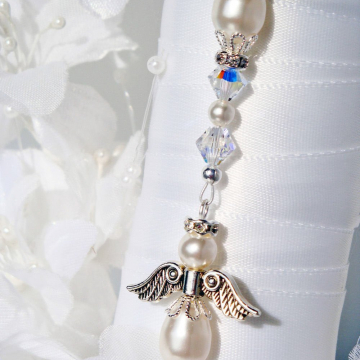 Bouquet Charm, White Wedding Bouquet Charm, Swarovski Crystal and Pearl Angel Bridal Bouquet Charm