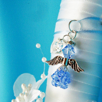 Something Blue Wedding Bouquet Charm, Swarovski Crystal Angel Bridal Bouquet Charm, Something Blue Gift