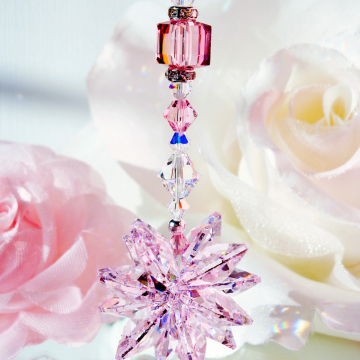 Pink Crystal Suncatcher Rear View Mirror Charm Car Accessories