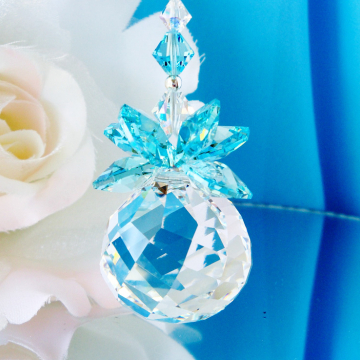 Crystal Suncatcher, Turquoise Blue Feng Shui Decor, Swarovski Crystal Sun Catcher