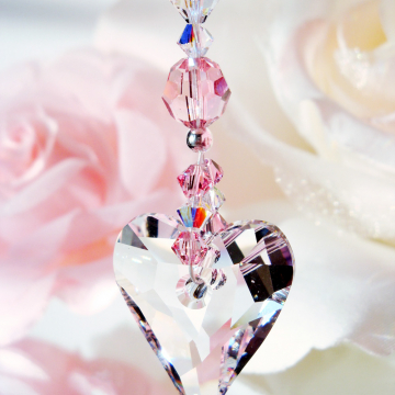 Crystal Suncatcher Car Charm Pink Car Accessories