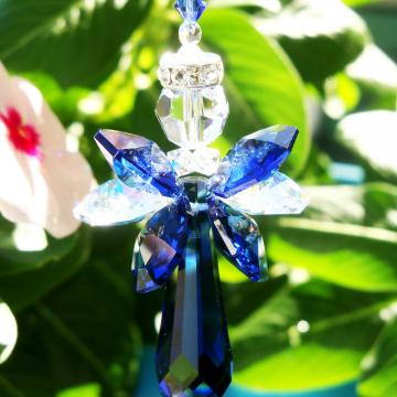Angel Rear View Mirror Charm, Blue Swarovski Crystal Angel Suncatcher for Car