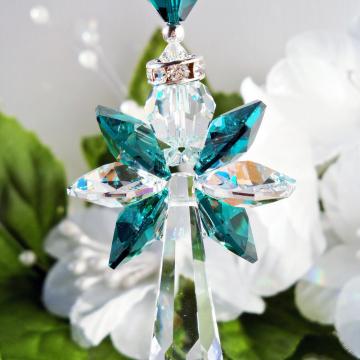 Crystal Angel Car Charm, Swarovski Emerald Green Car Accessories, Rear View Mirror Charm, Angel Suncatcher for Car