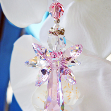 Crystal Angel Suncatcher Car Mirror Charm Pink Car Ornament