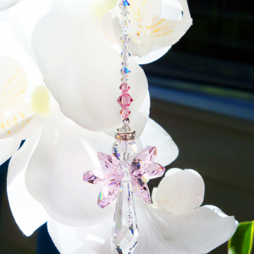 Swarovski Crystal Suncatcher, Pink Angel Sun Catcher for your Home