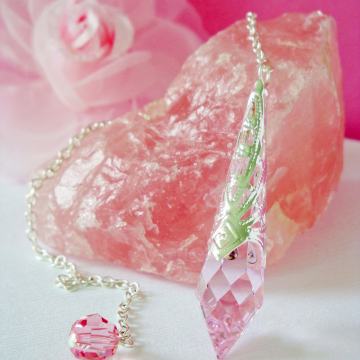 Crystal Pendulum, Pink Magic Wand, Swarovski Single Point Crystal, Divining Pendulum