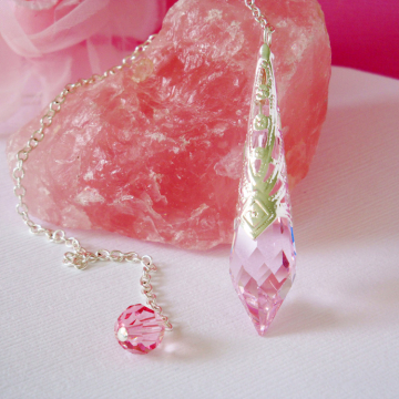 Crystal Pendulum, Pink Magic Wand, Swarovski Single Point Crystal, Divining Pendulum