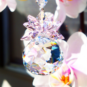 Swarovski Crystal Suncatcher, Pink Crystal Ball Sun Catcher, Feng Shui
