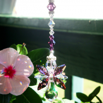 Rear View Mirror Charm, Guardian Angel Suncatcher for Car, Swarovski Crystal Car Accessories, Rearview Mirror Charm