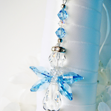 Something Blue Angel Bouquet Charm, Aquamarine Blue Swarovski Crystal Wedding Bouquet Charm, Something Blue for Bride