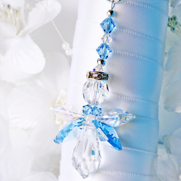 Something Blue Wedding Bouquet Charm, Aquamarine Blue Swarovski Crystal Angel Bouquet Charm, Something Blue for Bride