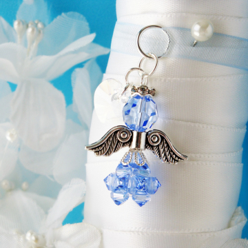 Something Blue Wedding Bouquet Charm, Swarovski Crystal Angel Bouquet Charm, Something for Bride