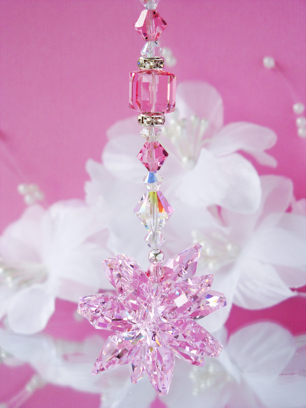 Pink Crystal Suncatcher Rear View Mirror Charm Crystal